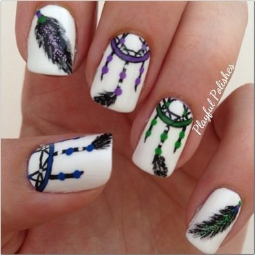 Dream Catcher (Right hand) nail art by Playful Polishes