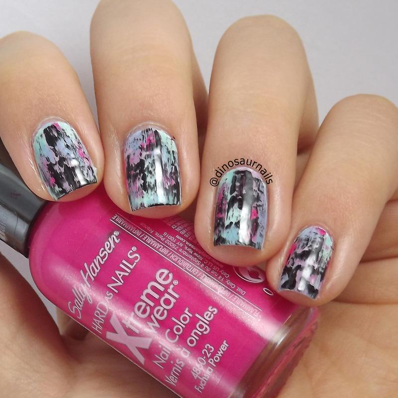 Distressed nail art by  Vanesa