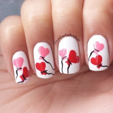 Balloon Hearts nail art by Julia