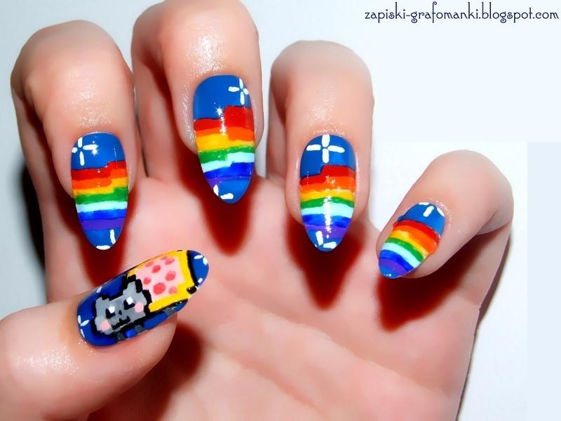 Nyan Cat nail art by Paulina Domoradzka