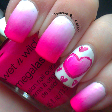 Gradient Heart Valentines Nail Art nail art by Ashley Hoopes
