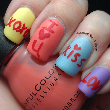 Valentines Candy Heart Nail Art nail art by Ashley Hoopes