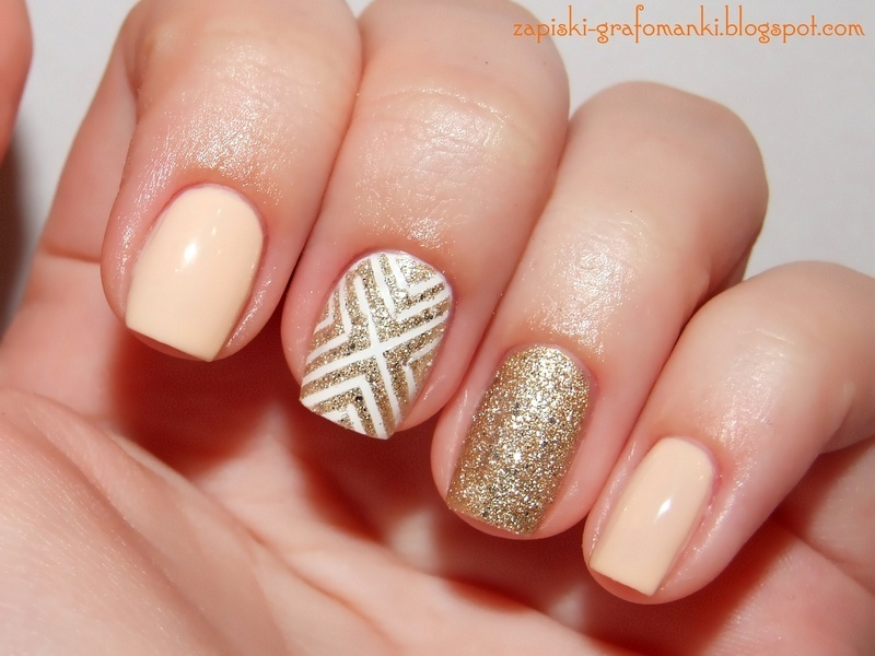 Peach & Gold nail art by Paulina Domoradzka