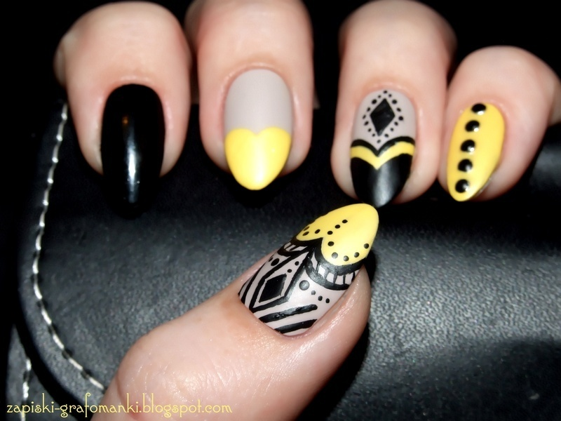 Black And Yellow Nail Art By Paulina Domoradzka Nailpolis Museum