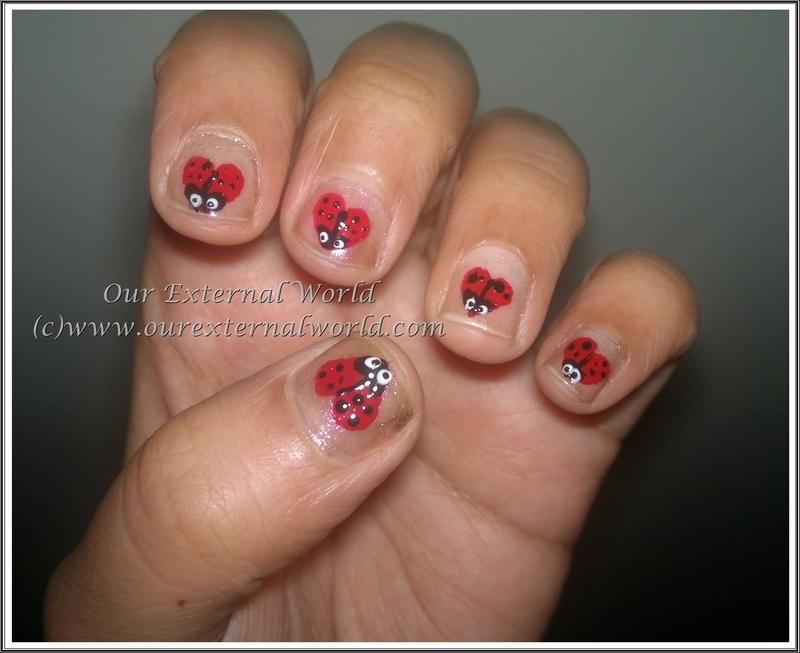 Valentine's Lady Bug Hearts nail art by  Shilpa  Gandotra