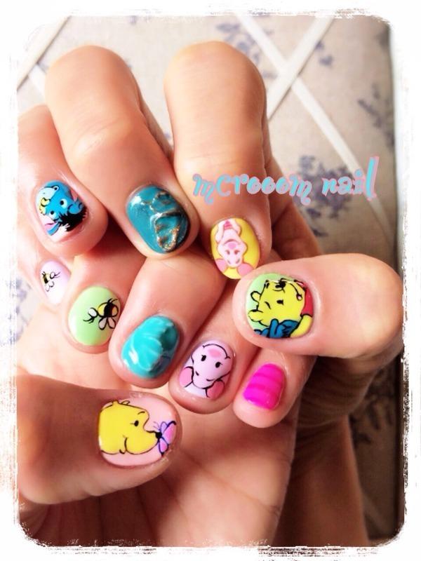 winnie the pooh nail art by Michiru
