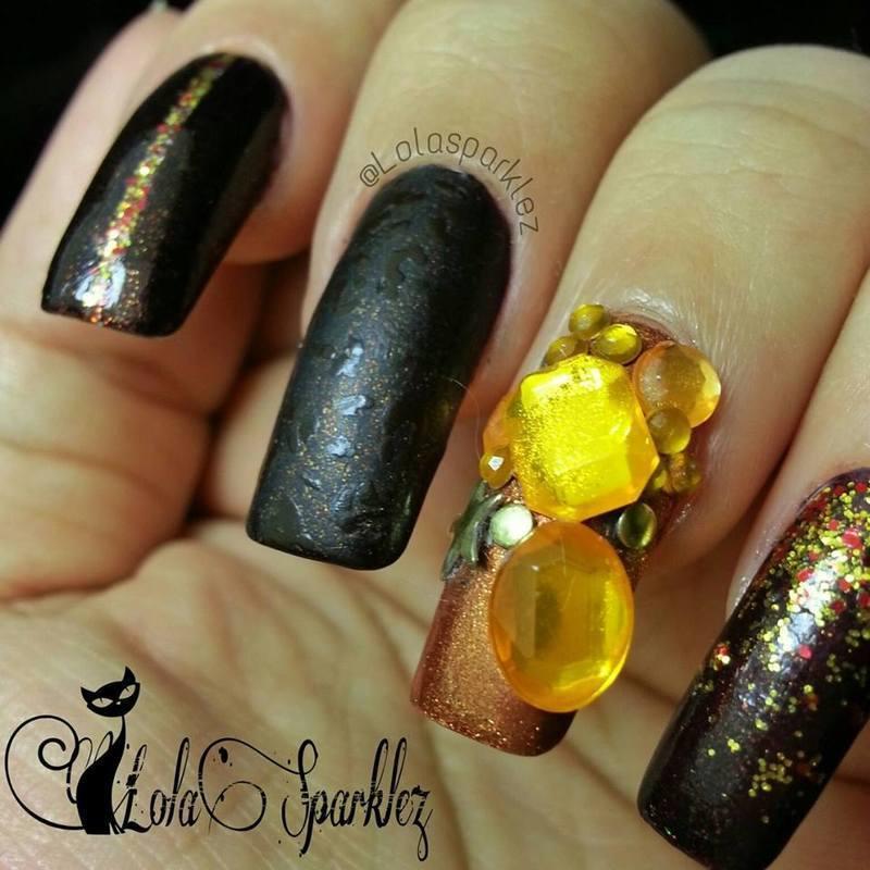 autumn bling  nail art by christy vasquez