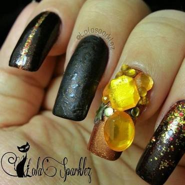 autumn bling  nail art by christy vasquez
