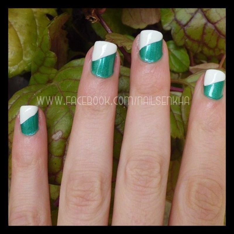 Verde & Blanco nail art by Nailsenkha
