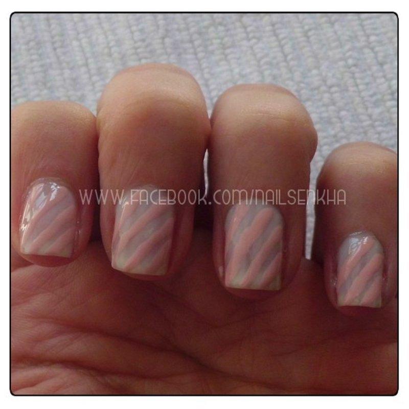 Rayas rosa pastel nail art by Nailsenkha