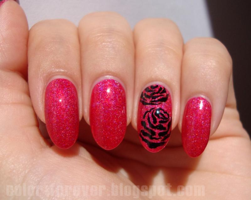 black roses nail art by ania