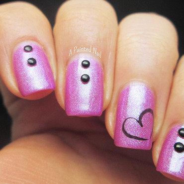 Studded Heart nail art by Bridget Reynolds
