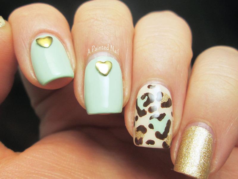 Heart Leopard Print Skittlet nail art by Bridget Reynolds
