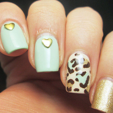 Heart Leopard Print Skittlet nail art by Bridget Reynolds
