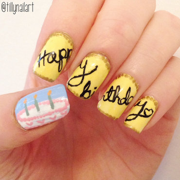 Birthday nails yellow thumb370f