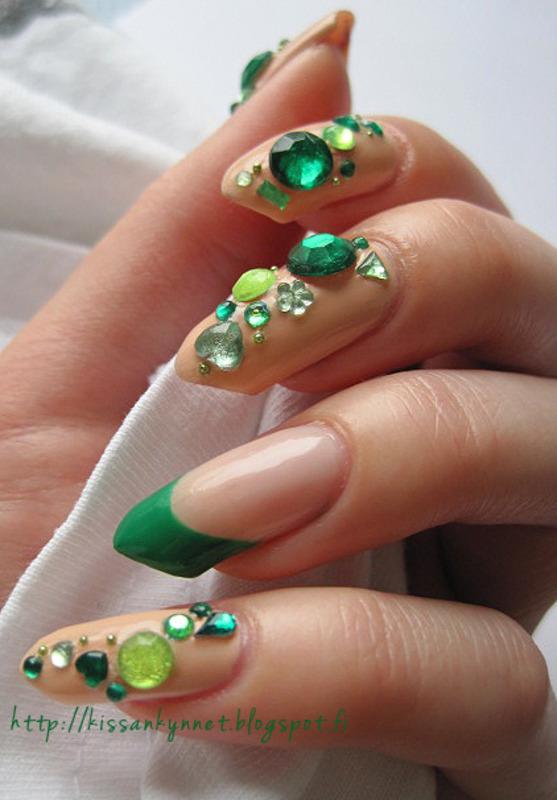 Just a few rhinestones nail art by Yue