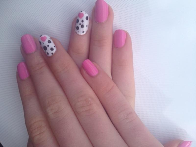 pink dalmations nail art by Ciara Donoghue