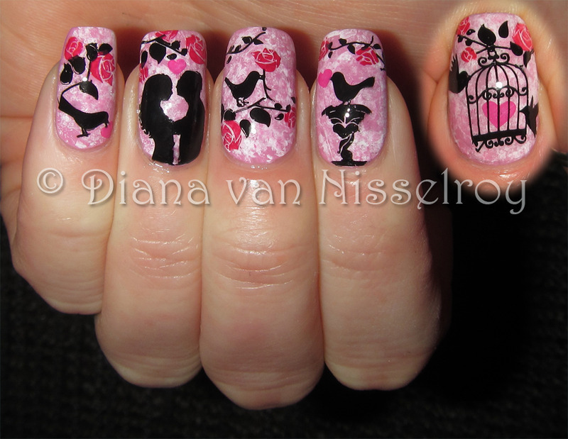 Romance in the garden nail art by Diana van Nisselroy