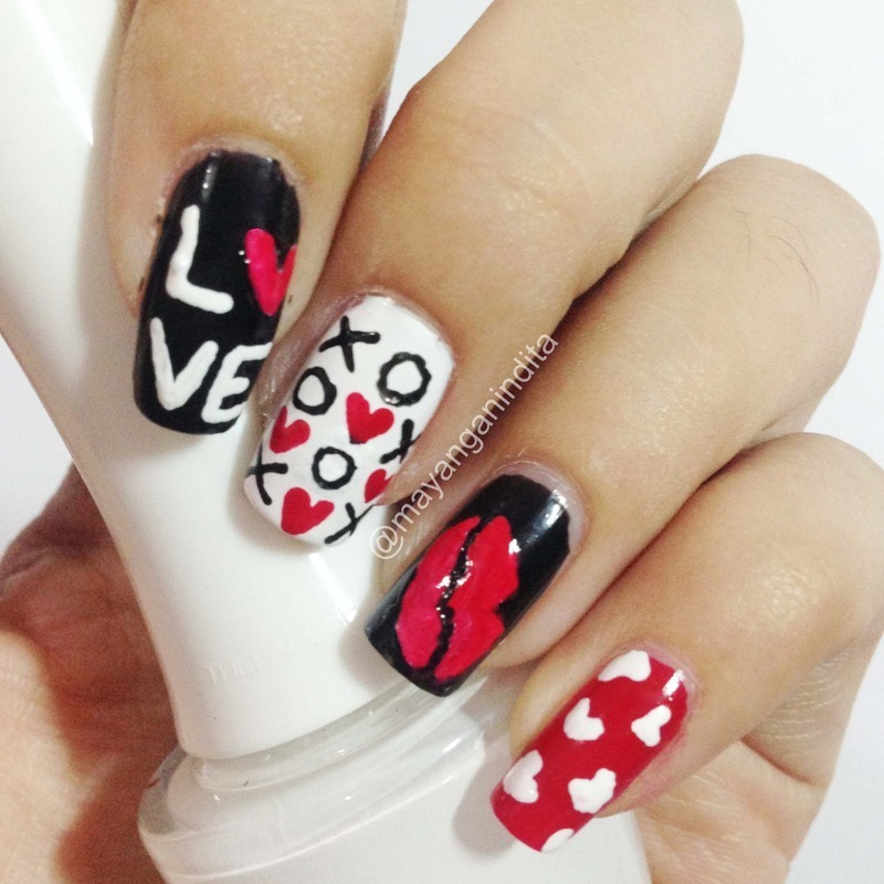Strong Heart nail art by Mayang Anindita