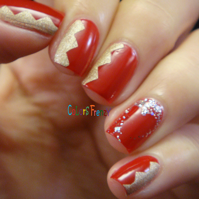 Red, Gold, & Heart nail art by Novi