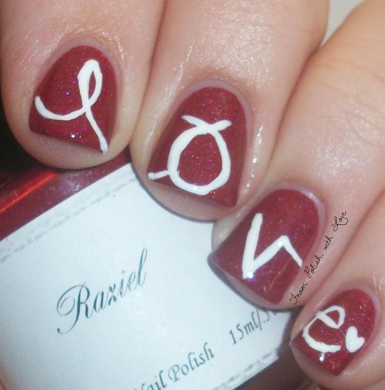 LOVE is a four-letter word nail art by Dani