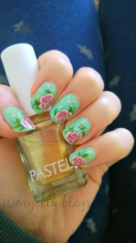 vintage rose water decals  nail art by Isim  Yoktu