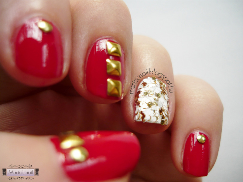 Red & Studs nail art by Maria