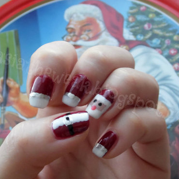 Santa manicure nail art by Kasia