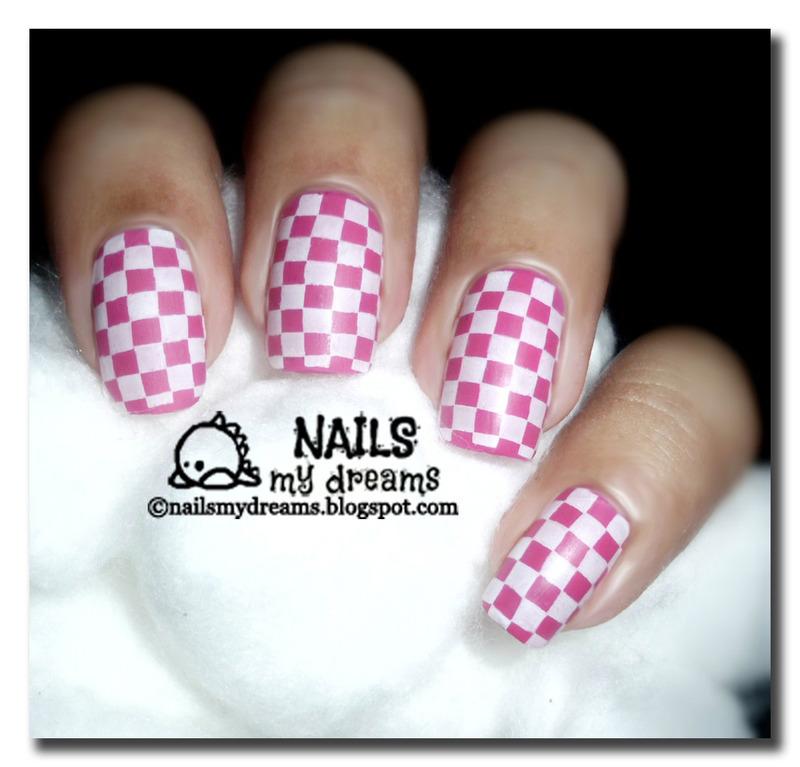 Pink Checkerboard Nails nail art by Kat of NailsMyDreams