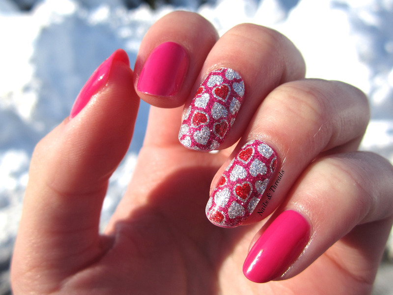 Glitter Hearts nail art by Nails & Threads