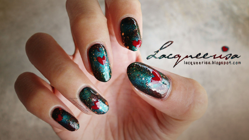 A Dramatic Valentine nail art by Lacqueerisa
