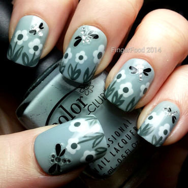 Grey English Summer nail art by Sam