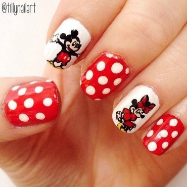 Mickey and Minnie Mouse Nails nail art by Tilly  Hawkins