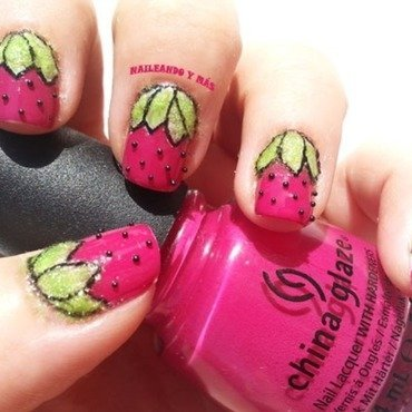 Straberries Nails nail art by Ana