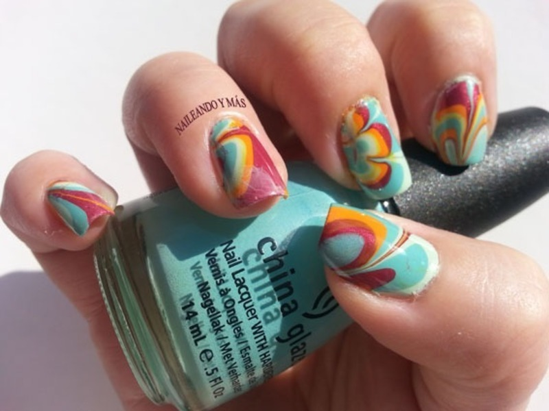 Rainbow Marble Water nail art by Ana