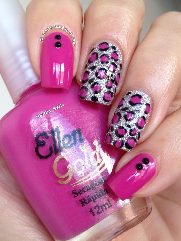 Pink Leopard nail art by Giovanna - GioNails