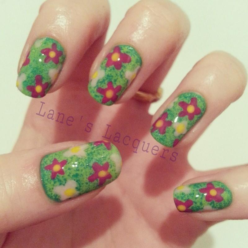 Garden Flowers Manicure nail art by Rebecca
