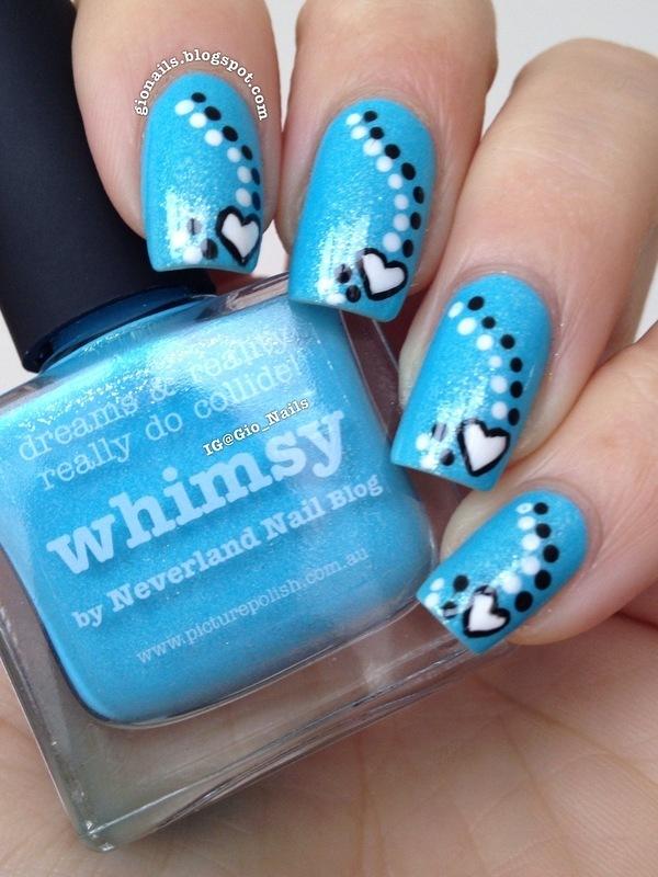 Blue Love nail art by Giovanna - GioNails