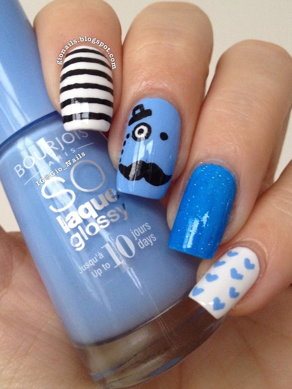 Mr. Moustache nail art by Giovanna - GioNails