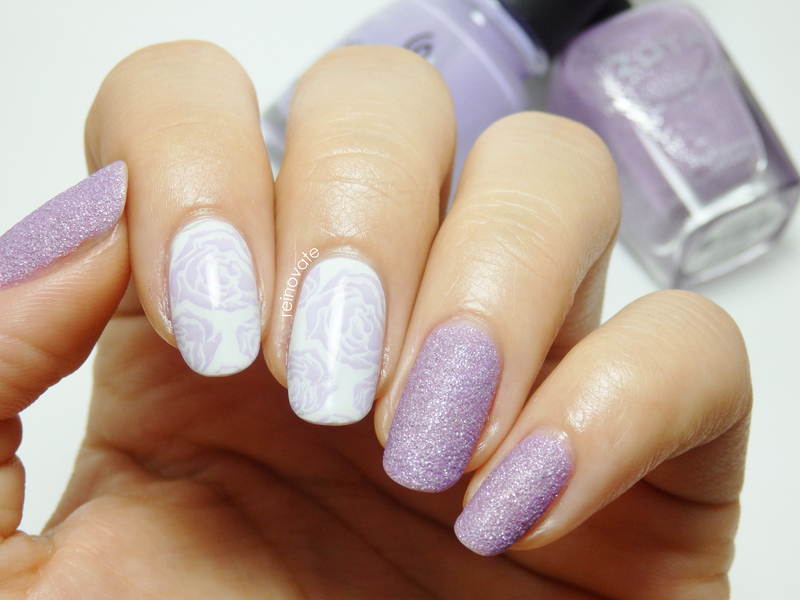 Lilac Roses nail art by Rei