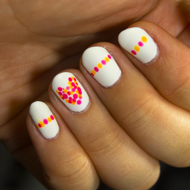 Neon Dotted Heart nail art by moon doggo