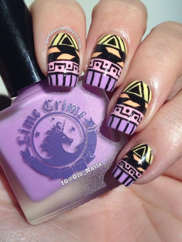Colorful Tribal nail art by Giovanna - GioNails