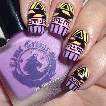Colorful Tribal nail art by Giovanna - GioNails