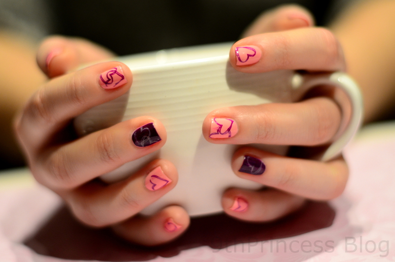 Purple Hearts nail art by 9th Princess