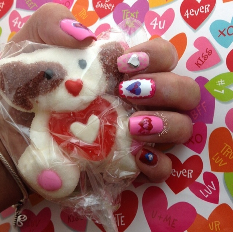 Sweet Cup of Love nail art by Janet