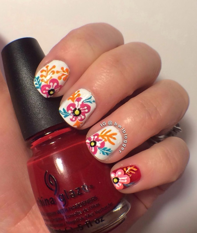 Floral Flare nail art by Ashley