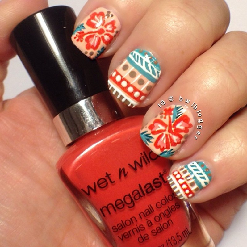 Floral and Tribal nail art by Ashley