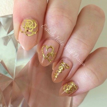 Gold Gilded  nail art by Courtney Haines