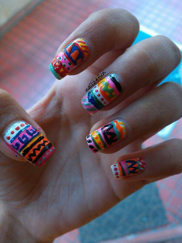 Aztec Print nail art by Nailz4fun