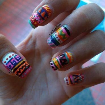 Aztec Print nail art by Nailz4fun